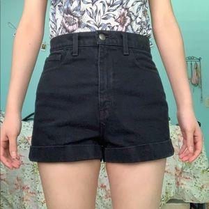 American apparel black high-waisted shorts
